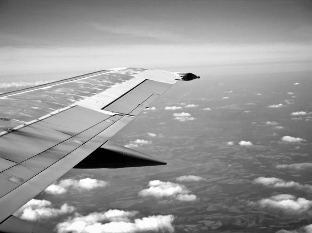 Airplane wing b and w