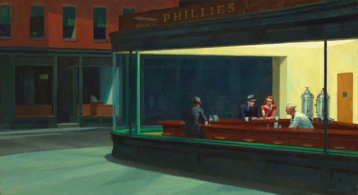 "Edward Hopper ""Nighthawks"" 1942. Public Domain"