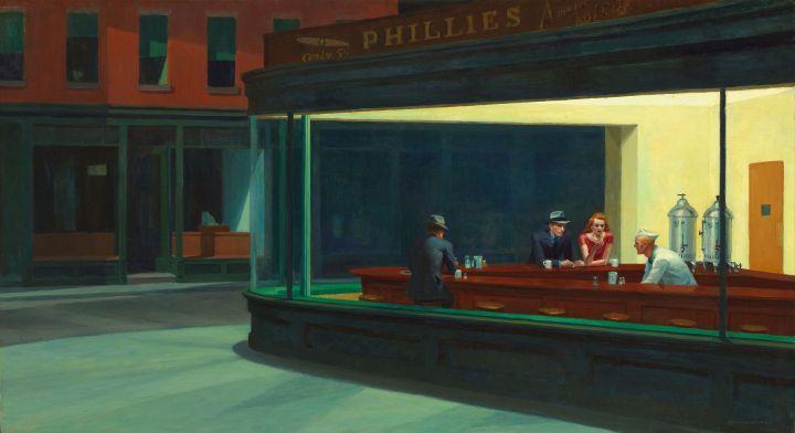 "Edward Hopper ""Nighthawks"" 1942. Public Domain"