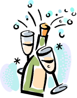 Champagne and glasses clip art
