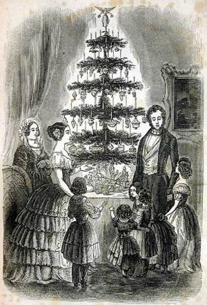 Queen Victoria and Albert, family, Christmas tree, 1850, Godey's Lady's Book